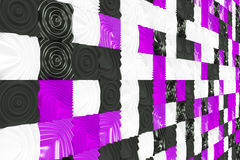Pattern of black, white and violet cubes with deformed surfaces Stock Photos