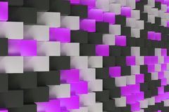Pattern with black, white and violet rectangular shapes. Wall of cubes. Abstract background. 3D rendering illustration Stock Photos