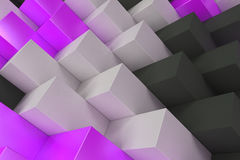 Pattern with black, white and violet rectangular shapes. Wall of cubes. Abstract background. 3D rendering illustration Stock Images