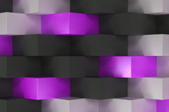 Pattern with black, white and violet rectangular shapes Royalty Free Stock Photography