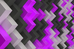 Pattern with black, white and violet rectangular shapes. Wall of cubes. Abstract background. 3D rendering illustration Stock Photography