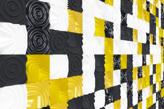 Pattern of black, white and yellow cubes with deformed surfaces Stock Image