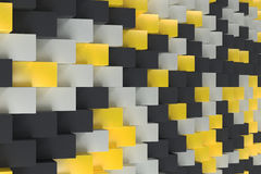 Pattern with black, white and yellow rectangular shapes. Wall of cubes. Abstract background. 3D rendering illustration Royalty Free Stock Photography