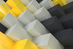 Pattern with black, white and yellow rectangular shapes. Wall of cubes. Abstract background. 3D rendering illustration Royalty Free Stock Photo