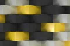 Pattern with black, white and yellow rectangular shapes. Wall of cubes. Abstract background. 3D rendering illustration Stock Photography