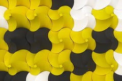 Pattern of black, white and yellow twisted pyramid shapes Royalty Free Stock Image