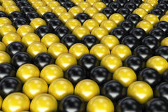 Pattern of black and yellow spheres. Shiny balls. Abstract background. 3D rendering illustration Vector Illustration