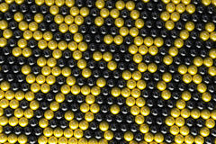 Pattern of black and yellow spheres. Shiny balls. Abstract background. 3D rendering illustration Royalty Free Illustration