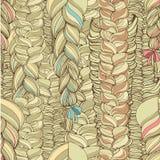 Pattern with blonde braids. Seamless pattern with three blonde braids royalty free illustration