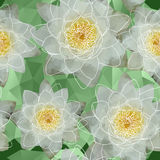 Pattern with blooming water lilies in triangles style Royalty Free Stock Photos