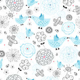 Pattern with blue birds Royalty Free Stock Photos