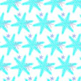 A pattern of blue bright Christmas, New Year`s snowflakes. Vector illustration stock illustration