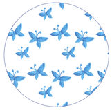 Pattern with blue butterflies watercolor Stock Photography