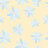 Pattern of blue daisies Stock Image
