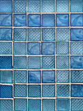 Pattern of Blue Decorative Glass Blocks Stock Image