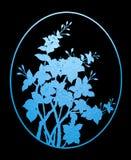 Pattern blue flower of glass on black background Stock Photo
