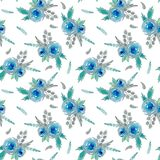 Pattern with blue flowers stock illustration