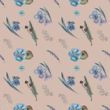 Pattern of blue flowers,herbs stock illustration