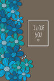 Pattern of blue flowers and with the inscription I love you. Beautiful bright background with a pattern of blue flowers and with the inscription I love you on Royalty Free Stock Photos