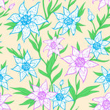 Pattern with blue flowers and leaves Stock Photo