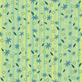 Pattern blue flowers on a striped background Royalty Free Stock Images