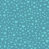 Pattern of blue hearts on darkblue background. Endless pattern of the hearts of 7 kinds, different sizes, vertical. Cute for Valentines day and love themes Stock Photography