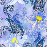 Pattern with blue orchids with a blurred background Stock Image