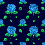 Pattern of blue roses Royalty Free Stock Image