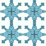 Pattern of blue snowflakes with a complex geometry. Perfect for creating printing backgrounds, packaging, advertising, illustratio stock illustration