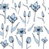 Pattern of blue tulips stock photos