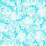Pattern blue and white doodle with seamless pattern in swatch panel. Royalty Free Stock Photos
