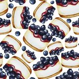 Pattern with blueberry cake stock illustration