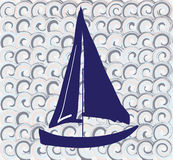 Pattern with a boat. Great for tile design Stock Images