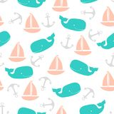 Pattern with boats. Seamless pattern with whales, anchors and boats on white, wallpapers with colored marine fauna Royalty Free Stock Images
