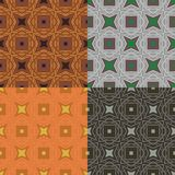 Pattern with bold geometric shapes in 1970s style. Set of 4 seamless vector pattern with bold geometric shapes in 1970s style. Texture background for web, print Stock Photo