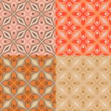 Pattern with bold geometric shapes in 1970s style. Set of 4 seamless vector pattern with bold geometric shapes in 1970s style. Texture background for web, print vector illustration