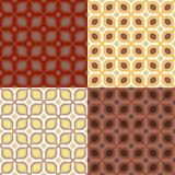 Pattern with bold geometric shapes in 1970s style. Set of 4 seamless vector pattern with bold geometric shapes in 1970s style. Texture background for web, print stock illustration