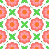 Pattern with bold stylized flowers in 1970s style. Floral geometric seamless vector pattern with bold stylized pink flowers and leaves in 1970s style. Texture royalty free illustration