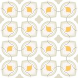 Pattern with bold stylized flowers in 1970s style. Floral geometric seamless vector pattern with bold stylized white flowers and leaves in 1970s style. Texture stock illustration
