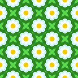 Pattern with bold stylized flowers in 1970s style. Floral geometric seamless vector pattern with bold stylized white flowers and leaves in 1970s style. Texture royalty free illustration