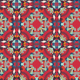 Pattern boho red-blue vector Stock Photos