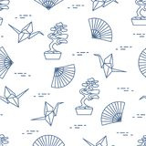 Pattern. Bonsai trees, origami cranes, fans. Seamless pattern with bonsai trees, origami paper cranes, fans. Travel and leisure. Japan traditional design Stock Image