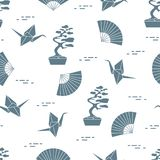 Pattern. Bonsai trees, origami cranes, fans. Seamless pattern with bonsai trees, origami paper cranes, fans. Travel and leisure. Japan traditional design Royalty Free Stock Image
