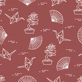 Pattern. Bonsai trees, origami cranes, fans. Seamless pattern with bonsai trees, origami paper cranes, fans. Travel and leisure. Japan traditional design Stock Photography