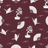 Pattern. Bonsai trees, origami cranes, fans. Seamless pattern with bonsai trees, origami paper cranes, fans. Travel and leisure. Japan traditional design Stock Images
