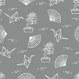 Pattern. Bonsai trees, origami cranes, fans. Seamless pattern with bonsai trees, origami paper cranes, fans. Travel and leisure. Japan traditional design stock illustration