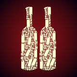 Pattern bottle. Of wine in one color, vector format Stock Images