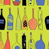 Pattern Bottles. Bright colorful pattern with hand-drawn bottles of different forms Royalty Free Illustration