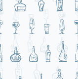 Pattern of bottles and glasses Royalty Free Stock Photos