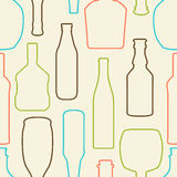 Pattern with bottles. Seamless color contours of bottles on ligh Stock Photography